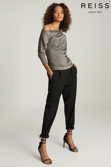 Reiss Black Jay Pleat Front Tailored Trousers