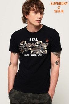 Superdry Vintage Mittelschweres T-Shirt mit Logo und Camo-Print