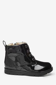 Clarks Black Pat Dabi Lace Boots