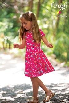 Frugi Skaterkleid aus Bio-Baumwolle mit Elefantenmotiv, Pink