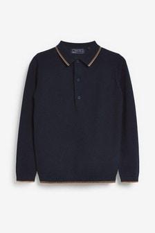 Вязаная фактурная рубашка поло (3-16 лет)