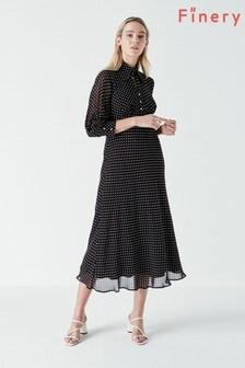 Finery Black Martha Polka Dot Dress