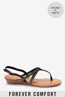 Forever Comfort® Mini Wedge Toe Post Sandals