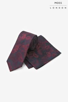 Tmavomodrá kravata s vreckovkou do saka Moss London s vínovými kvetmi, súprava