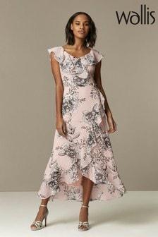 Wallis Geblümtes Kleid mit Raffung und Rüschen, Pink/Blush