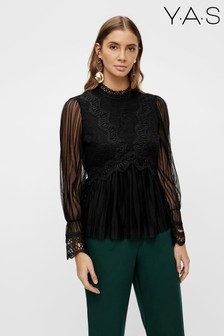 Y.A.S Black Lace Insert Pleated Sof Blouse
