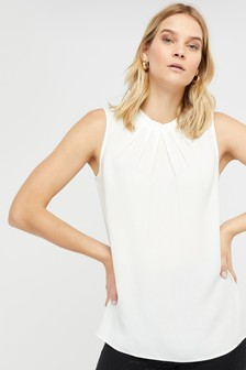 Monsoon Cream Lucie Pleat Tank Vest