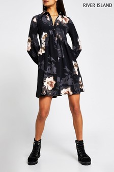 River Island Black Floral Shirt Smock Mini Dress