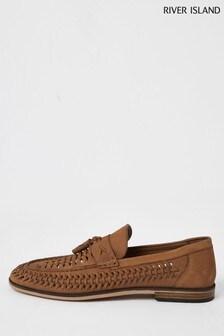 River Island Brown Medium Woven Tassel Loafers