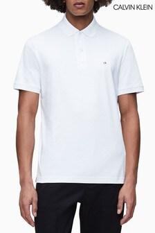 Calvin Klein White Soft Interlock Slim Fit Polo
