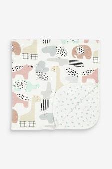 Zweiseitige Decke aus GOTS-zertifizierter Bio-Baumwolle (Baby)