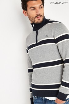 GANT Grey Knitted Striped Half Zip Top
