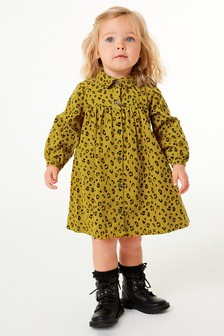 فستان قماش مخملي مضلع (3 شهور -7 سنوات)
