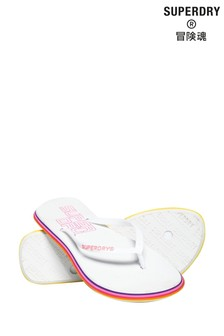 Superdry White Rainbow Flip Flops