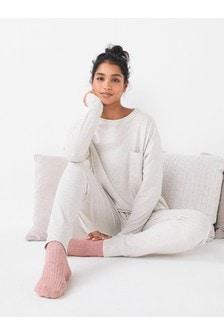 Embroidered Slogan Bubble Hem Pyjamas