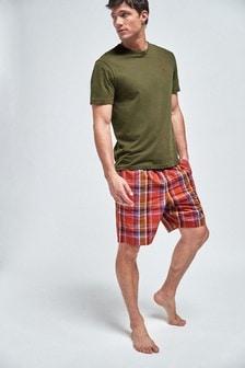 Pyjashort tissé à carreaux