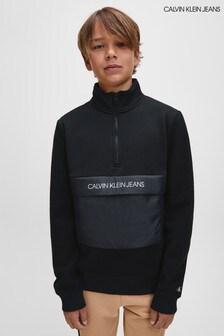 Calvin Klein Jeans Black Fleece Zip Mock Sweatshirt