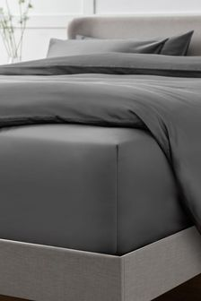 Charcoal Grey Collection Luxe 400 Thread Count Extra Deep Fitted 100% Egyptian Cotton Sateen Deep Fitted Sheet