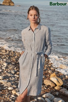 Barbour® Coastal Blue Stripe Tern Linen Shirt Dress