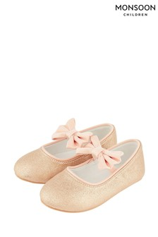 Monsoon Baby Samira Gold Bow Walker Shoes
