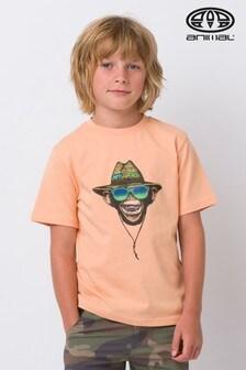 Oranžové melírované voľné grafické tričko Animal