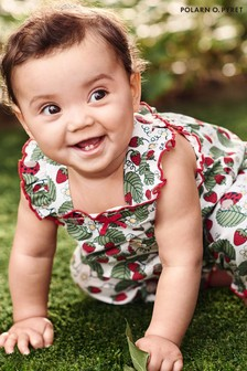 Polarn O. Pyret White GOTS Organic Strawberry Playsuit