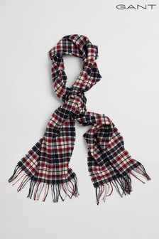 GANT Red Checked Twill Wool Scarf