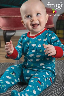 Frugi GOTS Organic Blue Tractor Sleepsuit With Turn Back Scratch Mitts