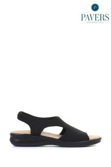 Pavers Ladies Black Stretch Sandals