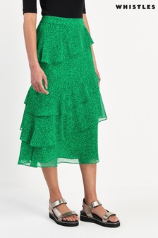 Whistles Green Sketched Floral Tiered Skirt