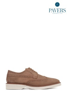 Pavers Brown Leather Men's  Derby Wing-Tip Brogues