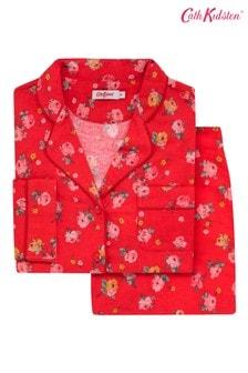 Set pijama din bumbac pieptănat Cath Kidston® Wimbourne Rose roșu