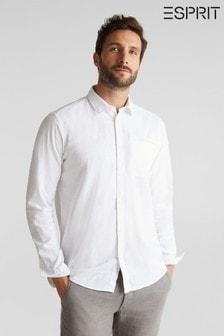 חולצהארוגהעם שרוול ארוךשלEsprit בלבן