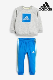 adidas Infant Grey/Blue Crew And Joggers Set