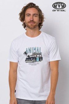 Camiseta en blanco con estampado gráfico Trip de Animal