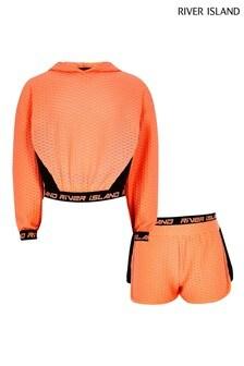 River Island Orange Reactive Jacquard Sweat Set