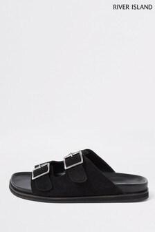 River Island Black Buckle Strap Suede Sandals