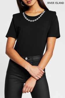 River Island Black Diamanté Necklace Sleeve T-Shirt