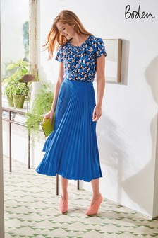 Boden Blue Kristen Pleated Skirt
