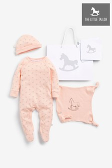 The Little Tailor Pink Sleepsuit, Hat & Comforter Gift Set