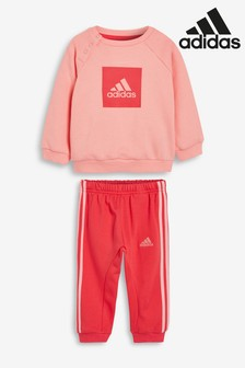 adidas Infant Pink 3 Stripe Crew And Jogger Set