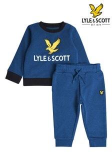 Lyle & Scott Blue Eagle Logo Crew Neck Sweatshirt And Joggers Set