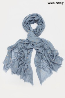 White Stuff Blue Recycled Foil Dreaming Away Scarf