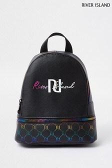 Черный рюкзак с радужным логотипомRiver Island