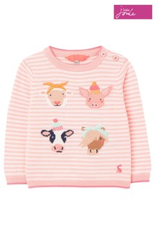 Joules Pink Holly Intarsia Jumper
