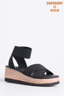 Sandale din plută Superdry negre