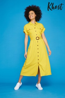 Khost Yellow Buckle Detail Shirt Dress