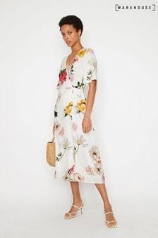 Warehouse Flora Midi-Wickelkleid mit floralem Muster, Natur