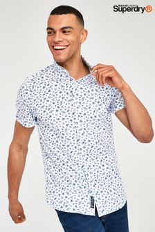 Superdry Blue Paisley Pattern Short Sleeve Shirt