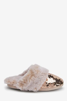 Sequin Faux Fur Mule Slippers (Older)